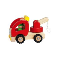 Camión grúa de madera