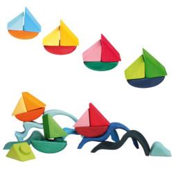 Barcos rodantes - bloques de madera