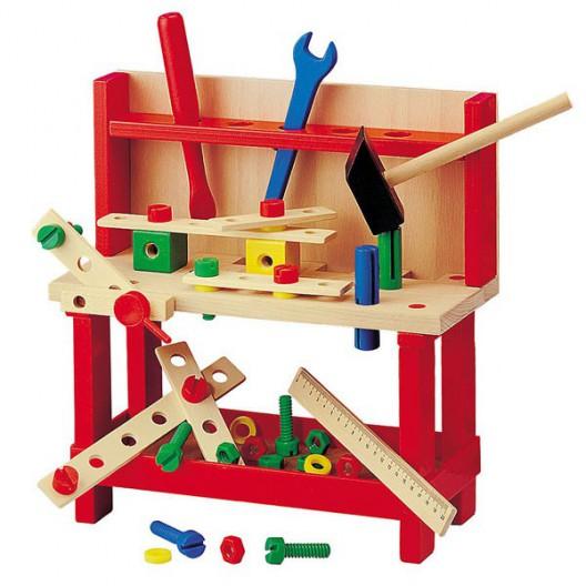 Banco de Carpintero grande de madera con herramientas