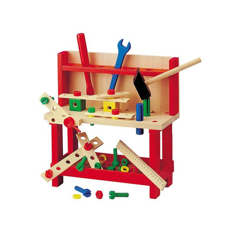 Banco de carpintero grande de madera con herramientas - Carpintero de madera ...