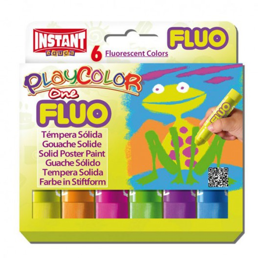 Caja surtido 6 Fluo PlayColor One 10g - Témpera sólida