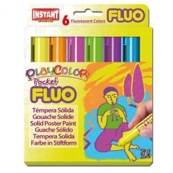 Caja surtido 6 Fluo PlayColor Pocket 5g - Témpera sólida