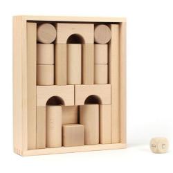 """Caja bloques de madera y juego de dados """"apilar la torre"""""""
