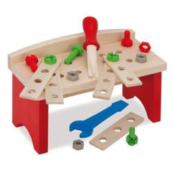 Banco de Carpintero de madera con herramientas