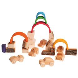 Bloques de madera natural con corteza - Waldorf
