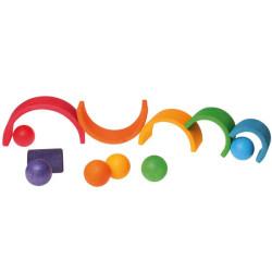 6 Bolas de madera macizas de colores arco iris