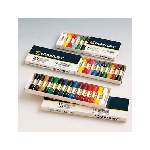 10 lápices de cera blanda Manley