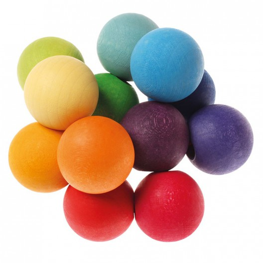 Sonajero de madera bolas de colores Arco Iris
