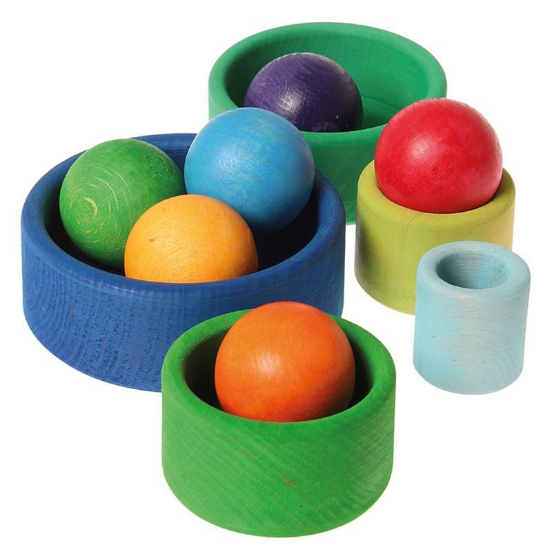 6 bolas de madera macizas de colores arco iris - Bolas de madera para manualidades ...
