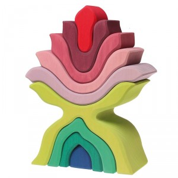 Apilable de madera en forma de flor