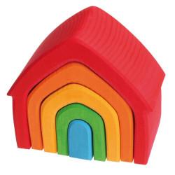 Casa Apilable de madera con colores del arco iris