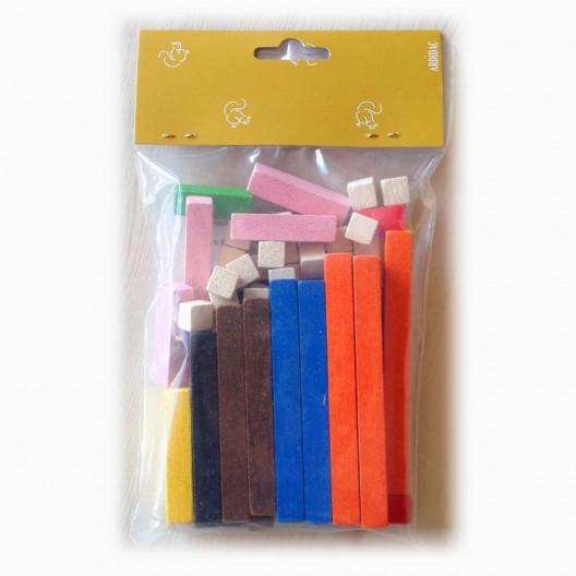 Regletas de madera Cuisenaire en bolsa para aprender las matemáticas