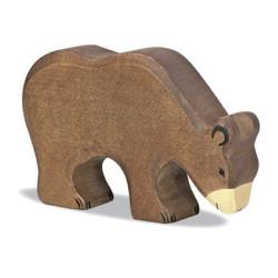 Oso  Pardo comiendo - animal de madera